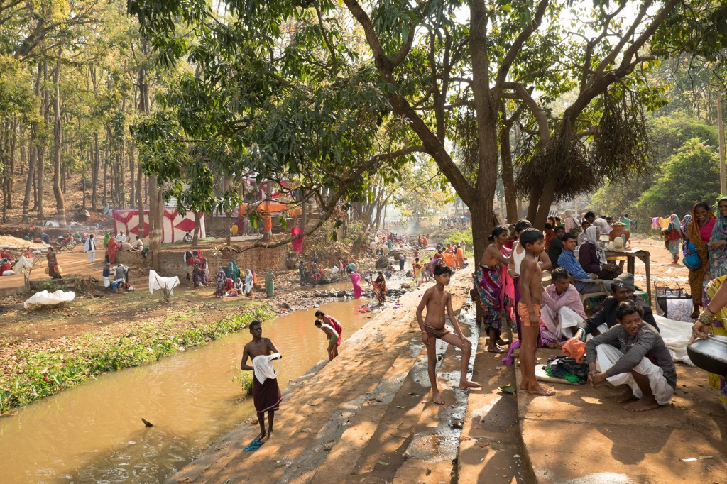 Pilgrims near Amarkatak gather during the yearly Sivratri celebrations.