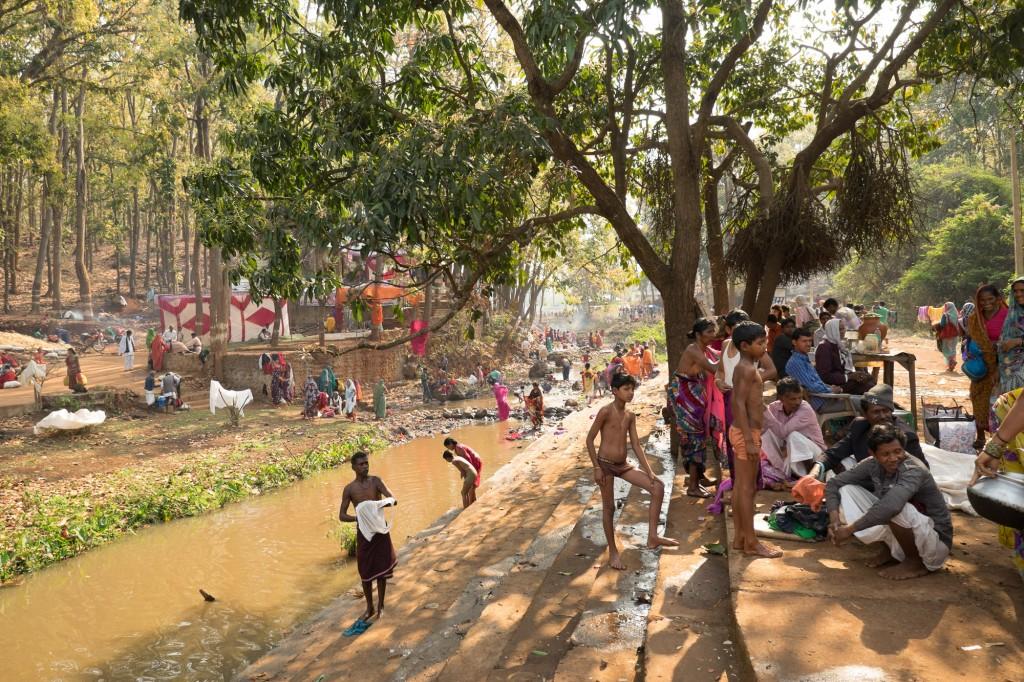 Pilgrims near Amarkatak gather during the yearly Sivratri celebrations.